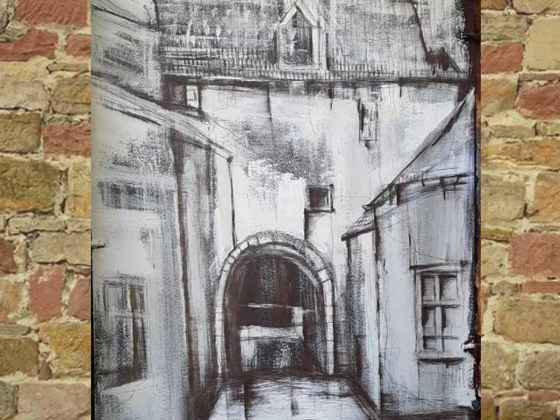 На брянской Набережной художник выцарапал «Окно» в прошлое