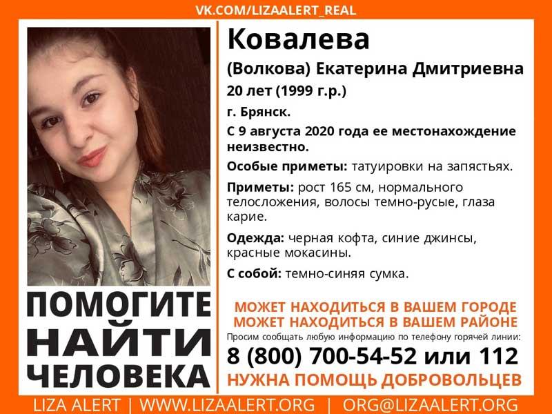 В Брянске продолжаются поиски 20-летней Екатерины Ковалевой