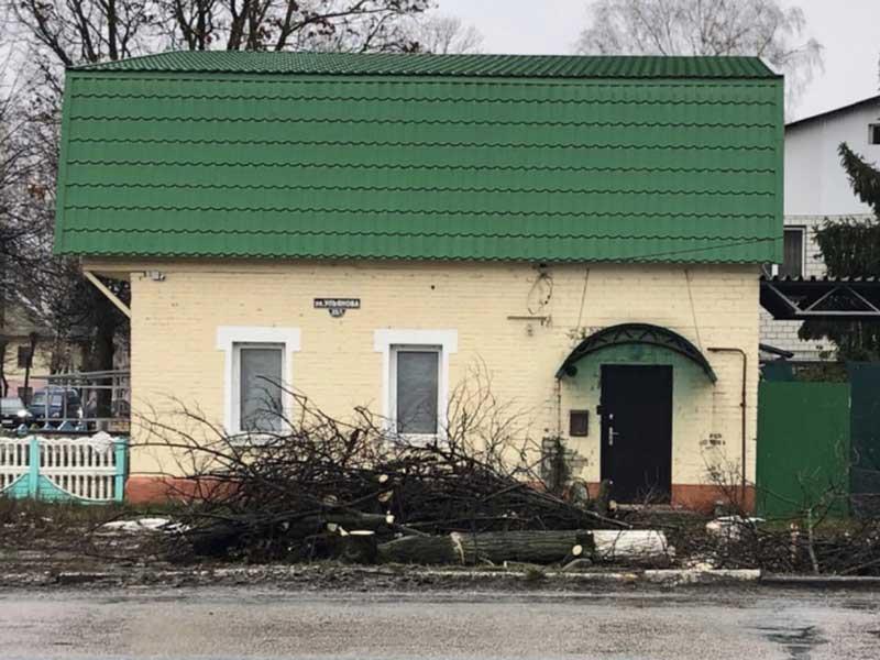 В Брянске, с растаявшим снегом, на улице Ульянова появились лесорубы