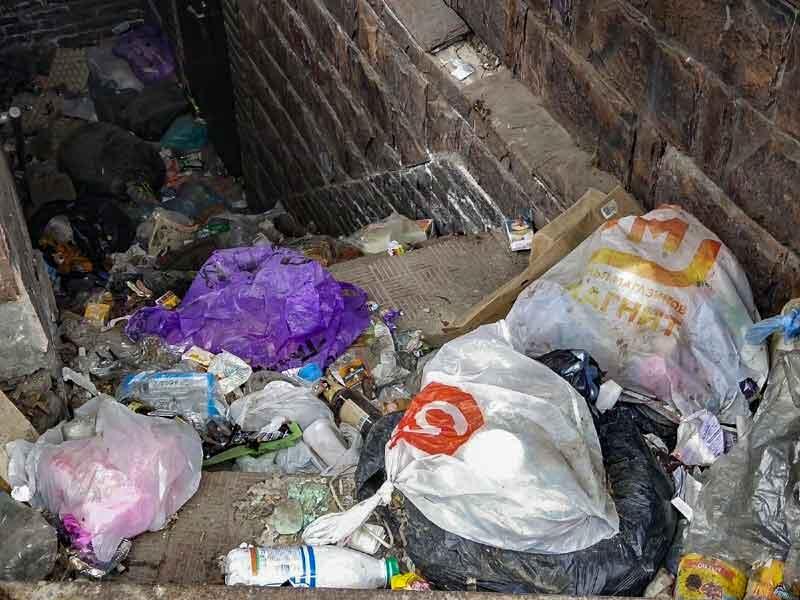 В центре Брянска Анубис охраняет вход в мусорный ад