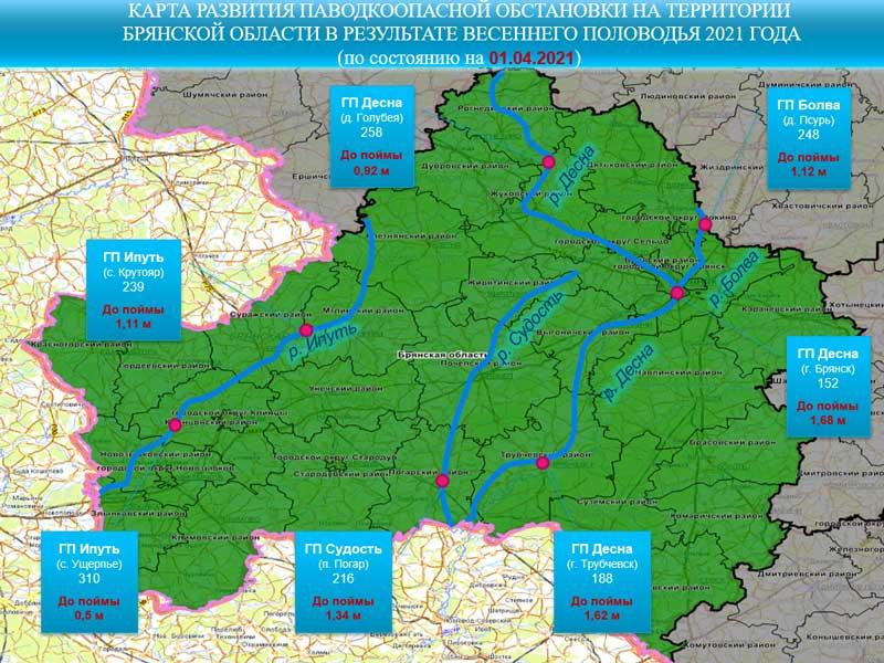 Начал повышаться в реках Брянской области уровень воды